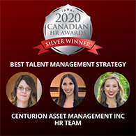 Centurion's HR Team Wins Silver for Best Talent Management Strategy at the 2020 Canadian HR Awards